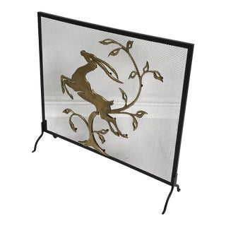 Art Deco Style Metal Fireplace Screen
