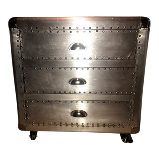 Contemporary Aviator Three-Drawer Side Table on Caster For Sale
