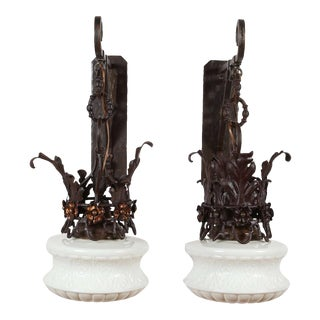 Early 20th Century Iron and Milk Glass Exterior Sconces - a Pair For Sale