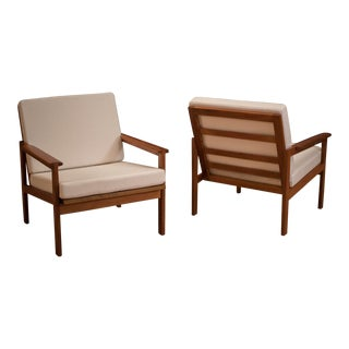 Danish Teak Lounge Chairs by Illum Wikkelso - A Pair For Sale