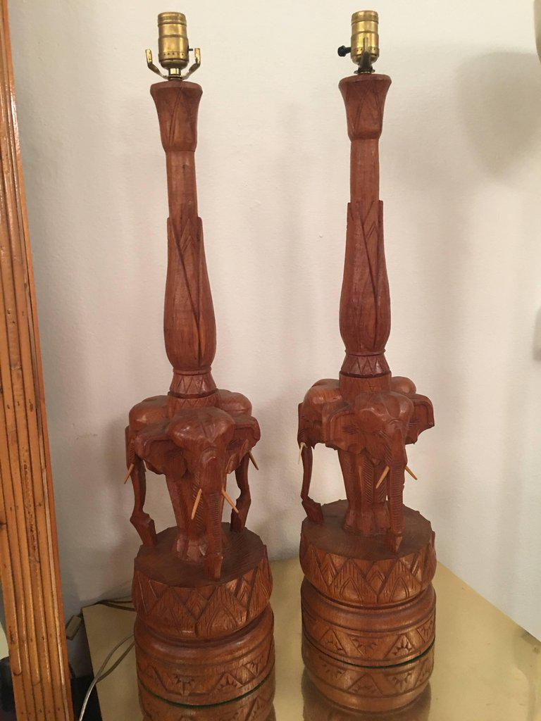 Vintage Hand Carved Wooden Elephant Table Lamps   A Pair   Image 4 Of 11