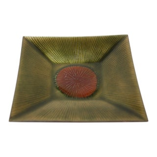 Vintage Red and Green Modernist 'Sgraffito' Enamel Dish For Sale