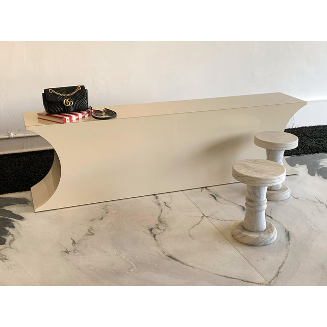 Available right now we have this stunning 1980's laminate console table in the style of Karl Springer. This vintage...