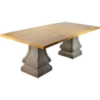 Vintage Burlwood Top Dining Table For Sale
