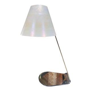 2000 Italian Chrome and Murano Glass Desk Lamp For Sale