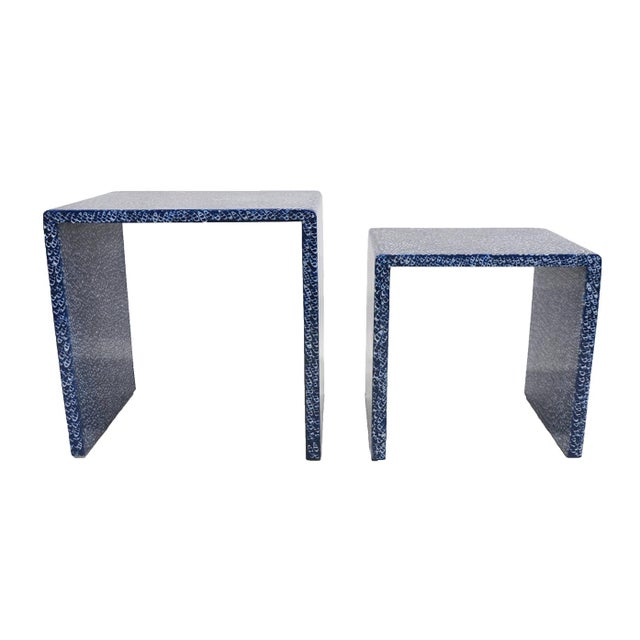 Blue Waterfall Nesting Tables - A Pair - Image 4 of 6
