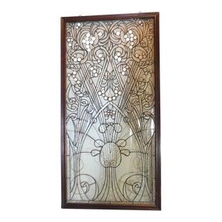 Art Nouveau Leaded Glass Window Panel