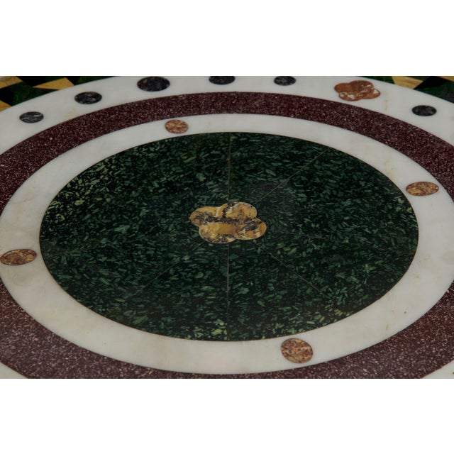 Metal Italian Neoclassical Antique Pietra Dura Center Table W/ Bronze Base For Sale - Image 7 of 11