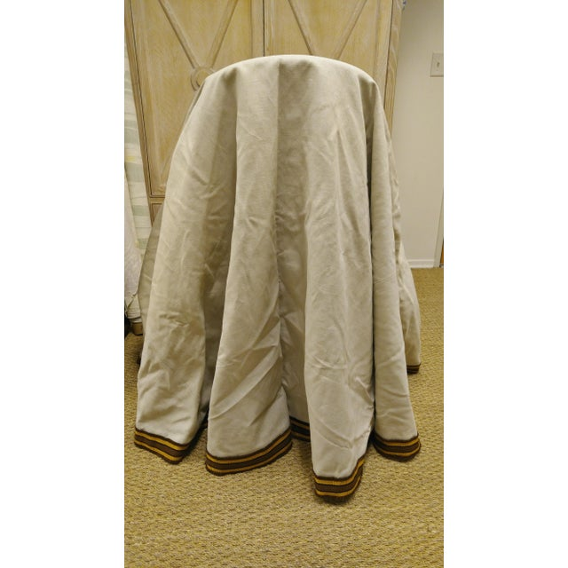 """96"""" Gold Trim Linen Lined Table Cloth For Sale In Los Angeles - Image 6 of 10"""
