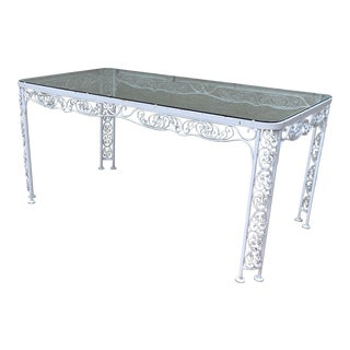 Boho Chic Woodard Andalusian Wrought Iron Patio Dining Table For Sale