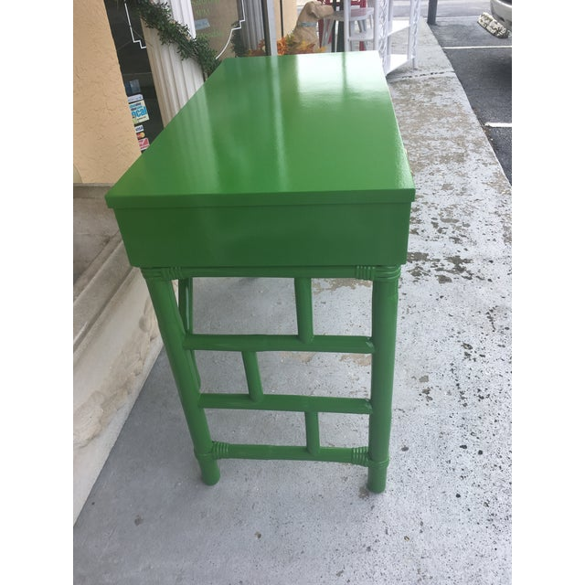 Asian Green High Gloss Bamboo Rattan Desk For Sale - Image 3 of 8