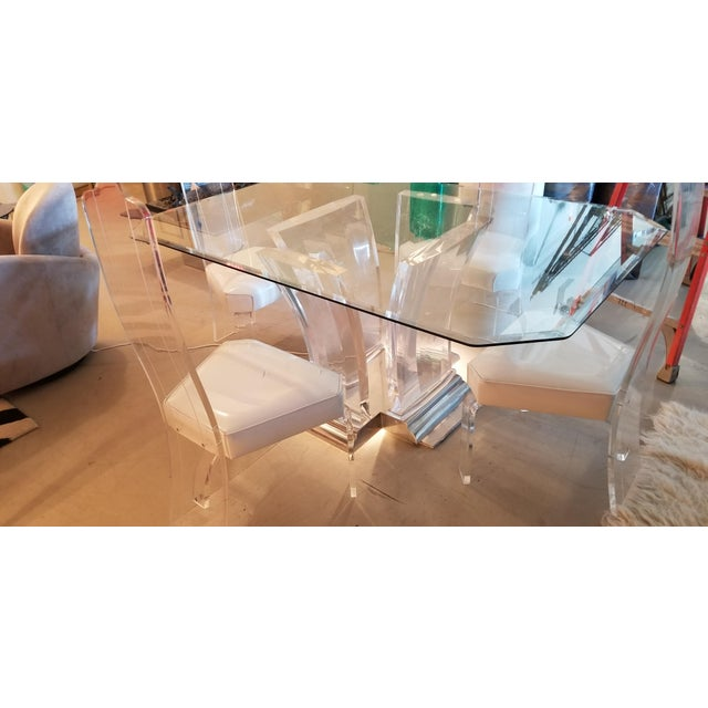 Hollywood Regency 1980's Jeffrey Bigelow Lucite & Nickel Dining Table For Sale - Image 3 of 7