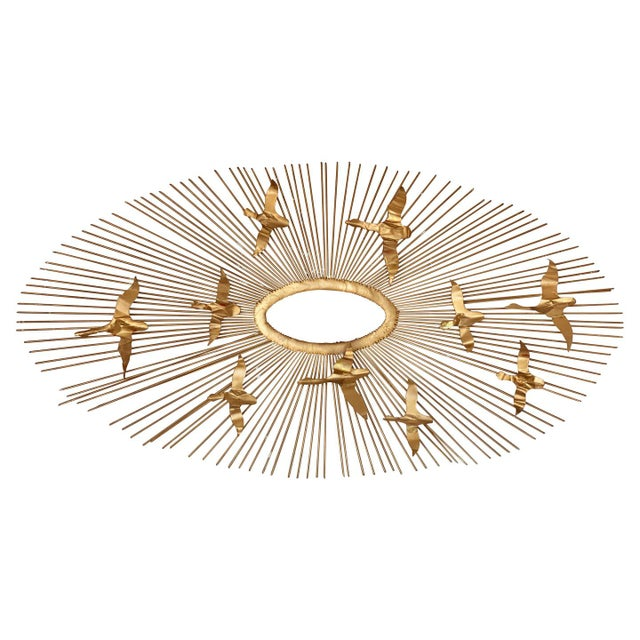 Mid-Century Brass Sunburst Birds in Flight Wall Sculpture by William Friedle For Sale - Image 13 of 13