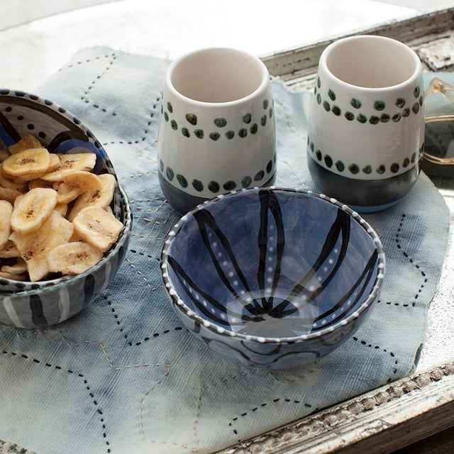 Maya Hand Painted Ceramic Mugs (set of two) For Sale - Image 4 of 7