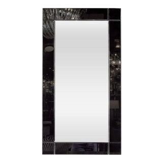 Custom Handmade Rectangular Mirror with Beveled Black Mirrored Glass Border For Sale