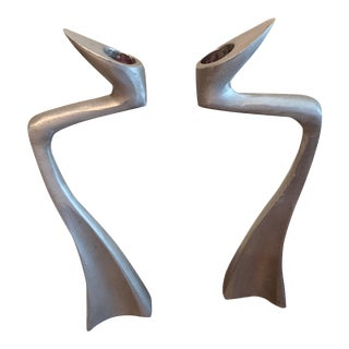 Post Modern Brushed Metal Candlestick Holders- a Pair For Sale