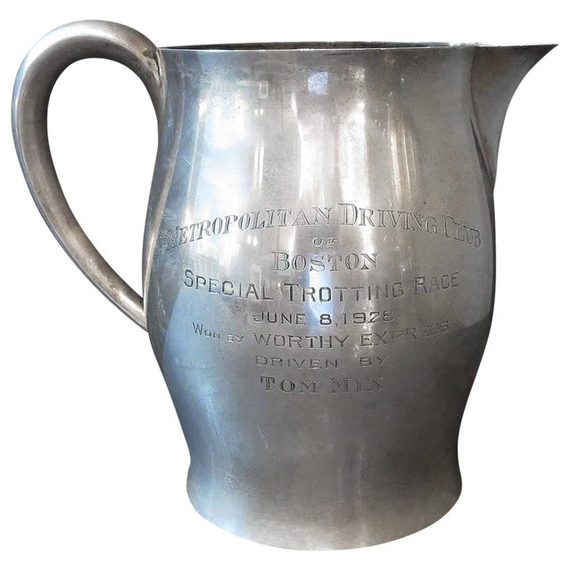 Tom MIX Sterling Pitcher From Metropolitan Driving Club, Boston 1928 For Sale