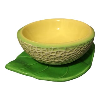 Mid-Century Ceramic Honeydew Melon Bowl on Leaf Trompe l'Oiel For Sale