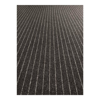 Modern Stroheim Salenside Ebony Wool Blend Black and Grey Pinstripe Fabric - 6.25 Yards For Sale