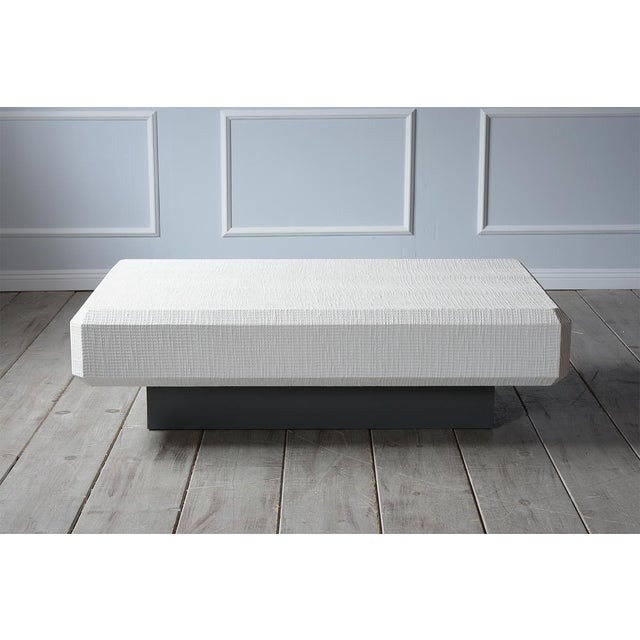 Mid-Century Modern Karl Springer Floating Grass Cloth Coffee Table For Sale - Image 3 of 7