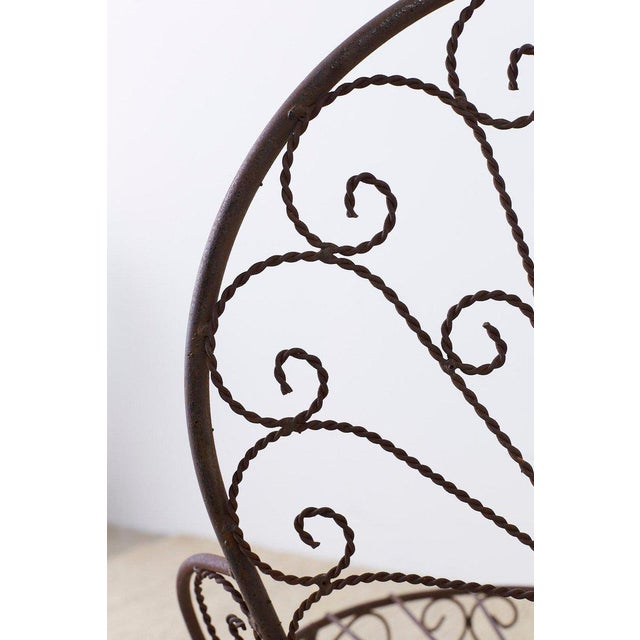 Brown Salterini Style Iron Fan Back Garden Patio Chairs For Sale - Image 8 of 13