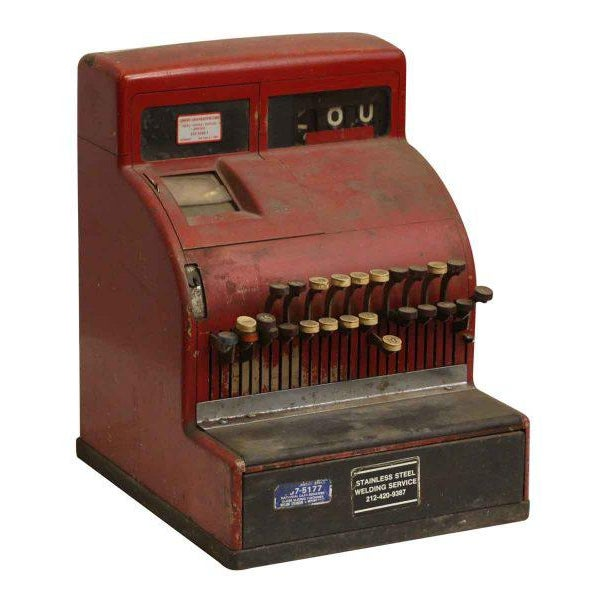 Nifty vintage red cash register. The working condition unknown. Priced as is.