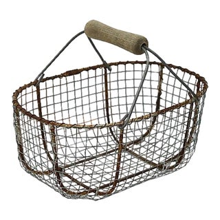 1940s French Market Produce Basket For Sale