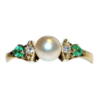 14k Gold Pearl, Diamond and Emerald Ring For Sale