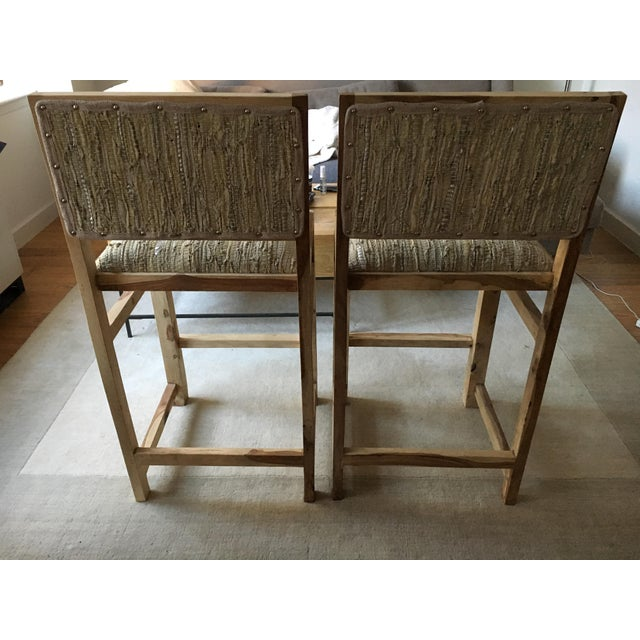 Calypso St. Barth Sandstone Woven Leather Stools - A Pair - Image 5 of 8