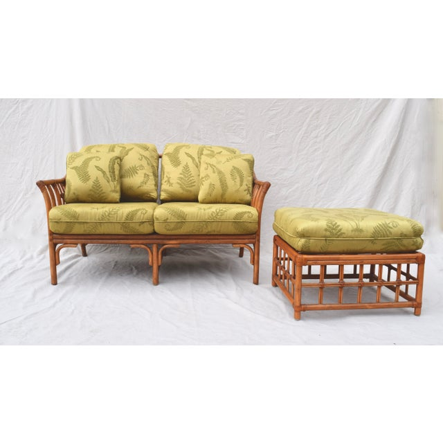 Ficks Reed Style Settee & Ottoman For Sale - Image 13 of 13