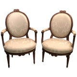 Image of Pair of Louis XVI Carved Bowknot Fauteuils For Sale