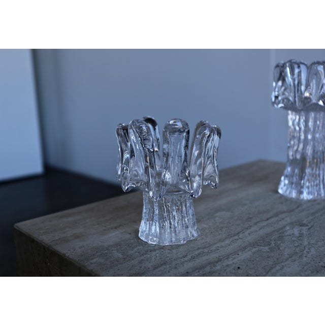 Glass 1970s Goran Wärff for Kosta Boda Sunflower Candle Holders - Set of 3 For Sale - Image 7 of 8