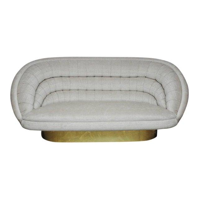 Vladimir Kagan Crescent Sofa on Brass Base For Sale