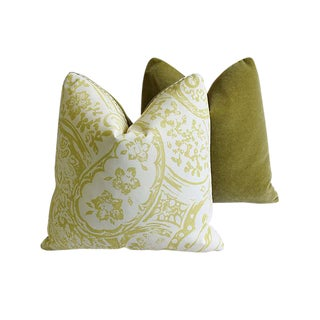 "Designer Lee Jofa Paisley & Scalamandre Mohair Feather/Down Pillows 21"" Square - Pair For Sale"