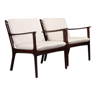 1950s Ole Wanscher Pj112 Lounge Chairs in Mahogany - a Pair