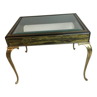 1970's Vintage Bernhard Rohne Mastercraft Etched Brass Side Table