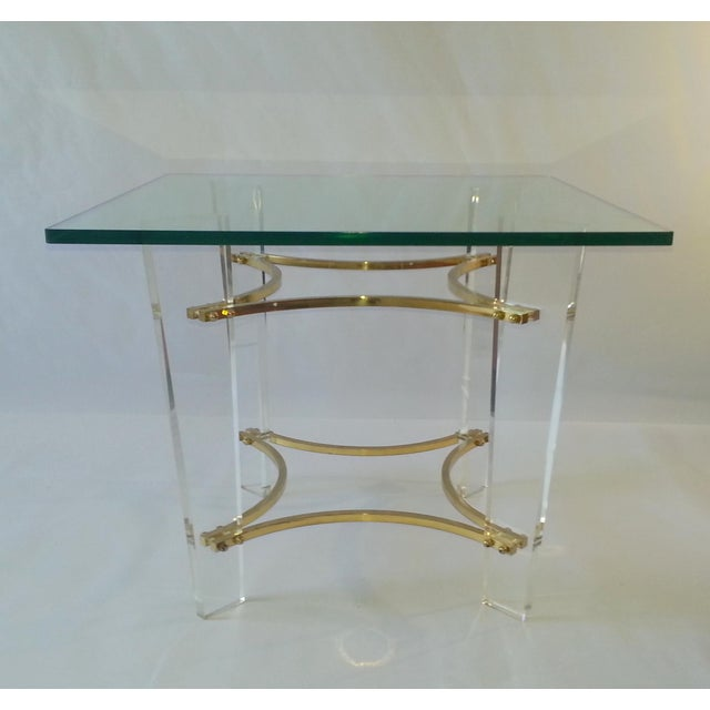 Vintage 1970's Lucite, Brass & Glass Coffee Table For Sale In Miami - Image 6 of 11