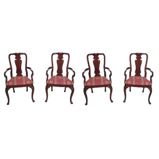 Kindel Queen Anne Mahogany Arm Chairs - Set of 4 For Sale