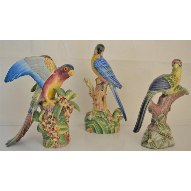 1980 Chinese Export Exotic Bird Figurines - Set of 3 For Sale - Image 4 of 11