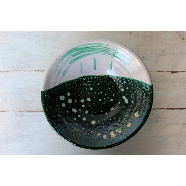 French Vintage French Glazed Earthenware, Studio Pottery Low Bowl For Sale - Image 3 of 9