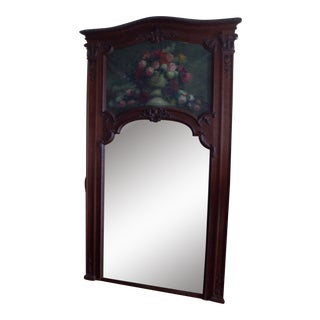 French 19th Century Trumeau Mirror with Floral Still Life For Sale