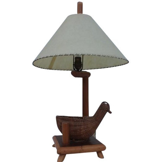 Vintage Rattan Bird and Bamboo Table Lamp - Image 1 of 7