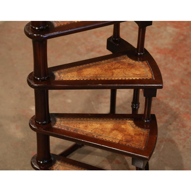 Mid 20th Century Mid-20th Century English Carved Mahogany and Leather Spiral Step Library Ladder For Sale - Image 5 of 9