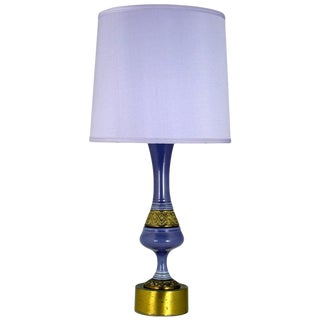 Single Ceramic Table Lamp in Amethyst and Brass For Sale