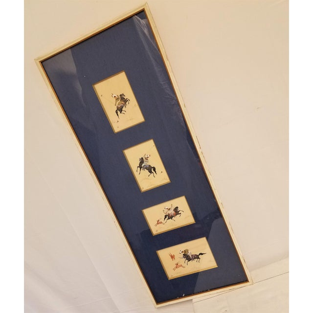 Asian Story Paintings, Lebanese Antique Hunt Painting on Silk For Sale - Image 3 of 8
