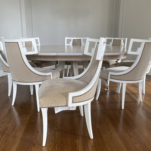 White Thomas Pheasant for Baker Furniture Dining Chairs - Set of 8 For Sale - Image 8 of 12