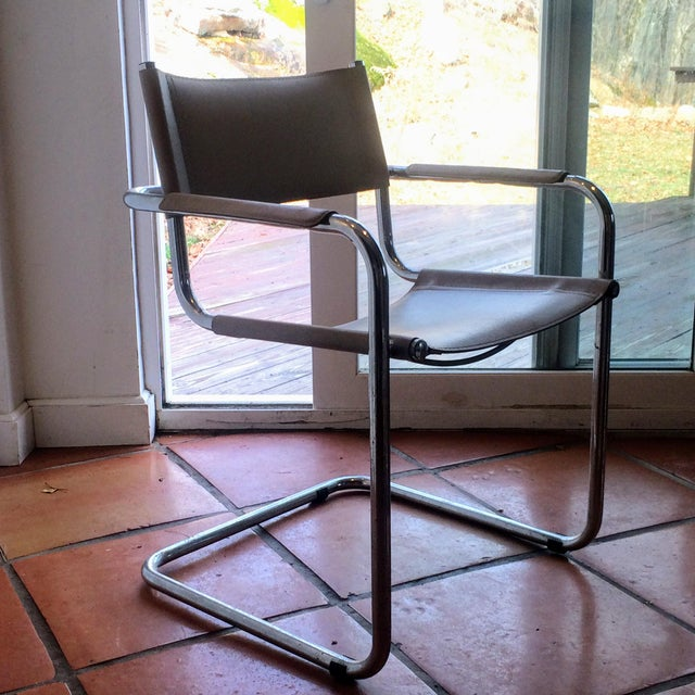 Vintage Mart Stam Breuer Style Tubular Chrome & Gray Leather Chair - Image 6 of 11