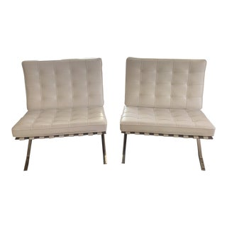 Knoll White Leather Barcelona Chairs- a Pair For Sale