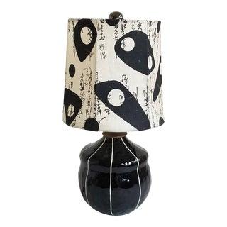 Kri Kri Studio Contemporary Handmade Black & White Ceramic Table Lamp For Sale