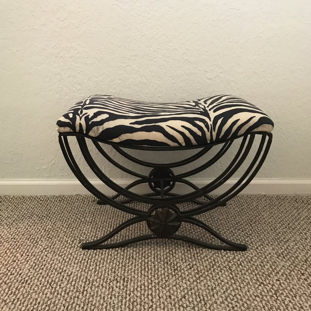 Art Deco Style Hand Forged Iron Upholstered Bench - Image 6 of 6